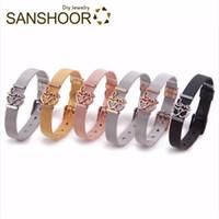 Wholesale armband jewelry women resale online - SANSHOOR Fashion Mesh Armband Keeper Bracelet Set Love Interlocking Heart Slide Charms DIY Jewelry Accessories as Women Gifts