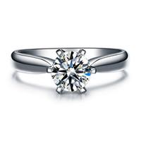 ingrosso nscd diamanti simulati-ZHF Jewelry Hearts and Arrows 6 poli incastonati 1 Ct NSCD diamante simulato Fedi nuziali per donna, anello solitario con accenti
