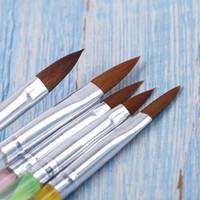 ingrosso vernice acrilica per la plastica-5pcs pittura a fiore pennello da disegno strumenti per manicure nail art manico in plastica acrilico gel UV estensione builder petalo