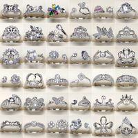 mücevher ayarları yüzük toptan satış-DIY Inci Yüzük Ayarları 925 Gümüş Yüzük 45 Stilleri Kadınlar için Zirkon Yüzük Kız Yüzük Güzel Takı Ayarlanabilir sevgililer Günü hediye