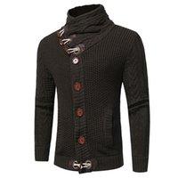 herrenbekleidung pullover groihandel-Designer Herren Cardigan Mantel Mode Thick Horn-Knopf Pullover Mens-beiläufigen Normallack-dünne Oberbekleidung Männlich Cothing