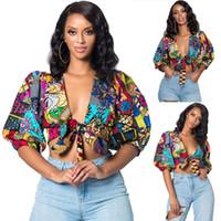 trajes boêmios venda por atacado-Afric Mulheres Tops Floral Impresso Verão Bohemian Tie Up Bow Lanterna Profunda Manga Curta Sexy Blusas E Camisas Outfits