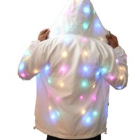 Wholesale light up clothes resale online - Unisex LED Flash Light Up Rave Jacket Sport Outwear Party Costume Fancy Long Sleeve Zipper Hooded Pocket Glowing Clothes Funny