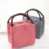 Wholesale insulation lunch bags for sale - Group buy Canvas Lunch Box Bag Heat Insulation Collapsible Water Proof Stripe Wrap High Capacity Waterproof Picnic Package Portable ylb1