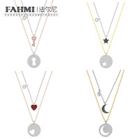 1b9df5c82 FAHMI SWA Crystal Wishes Star Moon Heart Shape Valentine's Day Key and Lock  Two-in-one Chain Set Women's Clavicle Chain Rose Gold