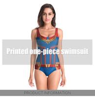 trajes de baño de tallas grandes al por mayor-Capitán Marvel Sexy Bikini 2018 Chicas Bikini de cintura alta Push Up Traje de baño Mujer Sólido Tallas grandes Traje de baño Bikini para mujer Conjunto Traje de baño rojo