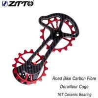 колеса переключения передач оптовых-Клетка Derailleur волокна углерода велосипеда дороги ZTTO с керамическим колесом жокея 16T Сверхразмерным более низким шкивом RD9000 9070 6800 6870 4600 4700
