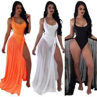 ingrosso vestiti di gonna a fasce-Swimwear Bikini sexy delle donne S 2019 Mesh Scoop Neck Costumi da bagno intero e fasciatura Sheer Long Maxi Skirt Set Beach wimwear Cover Up