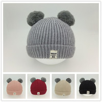 Wholesale soft baby wool resale online - Warm Baby Pom Pom Hat Cute Kid Beanie Hats Childrens Soft Comfortable Knitted Wool Winter Cap Solid Color Baby Winter Hat VT0879