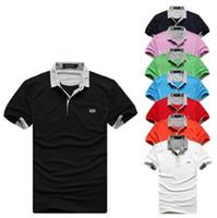 männer kragen polo-stil großhandel-Neuer Stil Berühmte Marke Herren Polo Shirts Sommer Polos Kurzarm Hochwertige Baumwollhemden Komfortable Klassische Umlegekragen T-stücke