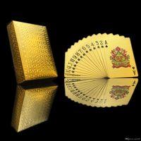 игральные карты с золотой фольгой оптовых-Покер карты сусальное золото покрытием игральные карты пластиковые покер водонепроницаемый высокое качество местного золота водонепроницаемый ПЭТ / ПВХ общий стиль Оптовая 50 комплект