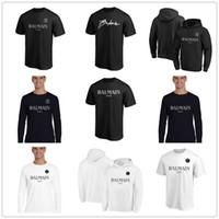 schwarze hoodie-marke großhandel-2019 neue Art B Almain Herren Designer-T-Shirts Schwarz Weiß Fashion Hoodies kurze Hülsen-Marken-Kleidung Fans Tops Tees Shirts Logos gedruckt