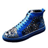trendstiefel koreanische männer großhandel-OLOME 2019 Neue High-Top-Schuhe Männer koreanischen Trend der Ankle Fashion Stiefel Mann Junge Persönlichkeit Niet Schuhe