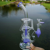 10 Inch Unique Double Recycler Glass Bong Pink Purple Heady Glass Turbine Perc Percolator Water Pipes Fab Egg Fab Dab Rigs Oil Rig