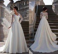 bescheidenes satin einfaches hochzeitskleid großhandel-Bescheidene Spitze Langarm Brautkleider einfach gestaltet Satin applizierten Brautkleider eine Linie V-Ausschnitt westlichen Robe de Mariee