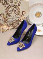 zapatos de tacón de cuero amarillo al por mayor-2019 Ofertas Mujeres Zapatos de vestir Tacones altos Marrón Rojo Azul Amarillo Bombas de fiesta de cuero Señora Moda Dedos en punta Zapatos de boda 10 cm