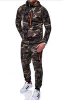 kamuflaj ceket pantolon seti toptan satış-Tasarımcı Erkekler Tracksuits Kapüşonlular + Pantolon spor giyim 2adet Setleri Kısa Kollu Ceket Koşu Kamuflaj Erkek Giyim Suits Koşu