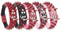 Wholesale spiked collar necklace resale online - Spike Dog Collar Rivet Pet Necklace Creative Fashion PU Leather Red Spikes Anti biting Pet Collars Medium Large Dog Chain