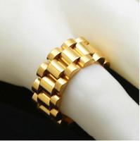 anel de ligação de aço inoxidável venda por atacado-Luxo clássico 24 K Banhado A Ouro Homens Anéis de Pulseira de Aço Inoxidável Anel de Ligação de Ouro Hip Hop Mens Estilo Homens Anel de Relógios Anel Banda
