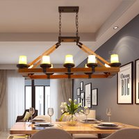 Wholesale rustic chains resale online - American vintage rustic round pendant lamps luxury retro wooden creative European pendant lights led hanging light for living room bedroom