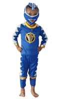 ingrosso ragazzi tre pezzi blu vestito-Halloween 2 colori Rosso blu 3 - 7 anni Ragazzo Abito tre pezzi Gioca vestiti kid Rangers Cosplay Gioca vestiti
