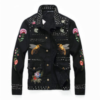 hohe markenbekleidung jacke großhandel-Neue Designer Denim Jacke Mens High qyality Marke Mode Biene Print Jeansjacke schlank Casual Streetwear Vintage Herrenbekleidung