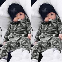 langer körper overall großhandel-Qualitäts-Baby-Kind-Designer-Kleidung Body Langarm-Camouflage-Druck mit Kapuze Overall 100% Baumwolle Babyspielanzug 0-2T