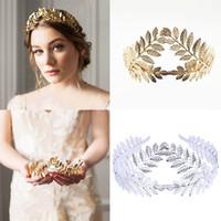 yaprak başlığı toptan satış-Zeytin Yaprağı Dal Hairband Kadınlar Yunan Roma Tanrıçası Taç başlıkiçi Gelin Düğün Kafa Altın Şapkalar Saç Aksesuarları Hediye