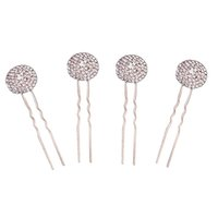 Wholesale u hair sticks pins clips resale online - 4pcs Bridal Hair Pins Decorative U shaped Round Crystal Hair Stick Accessories Decors for Banquet Daily Use Engagement Wedding