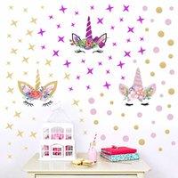 ingrosso adesivi rimovibili a parete a stella-25 * 25cm bambini unicorno adesivo da parete ragazze ragazzi carino animale del fumetto Stella Fai da te in pvc creativo rimovibile adesivi murali camera da letto home decor