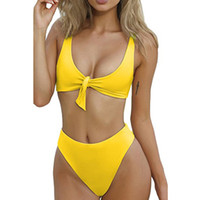 gelber gepolsterter badeanzug großhandel-2 Stück Frauen Gelb Bow Set Bandage Push-up Gepolsterter Badeanzug Bademode Beachwear Badeanzug Maillot De Bain Biquines Ma5