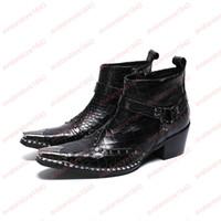 botas puntiagudas para hombres al por mayor-Zapatos de hombre Botas de cuero genuino Nueva simplicidad de moda Botas de punta puntiaguda de metal Botas cortas de cremallera de gran tamaño