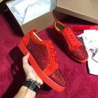 ingrosso scarpe da festa donne diamanti-Scarpe da punta in pelle scamosciata rossa Scarpe da donna con plateau rosso Bottom Scarpa da uomo Scarpe casual di lusso da sposa