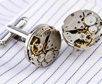17 mm düğmeler toptan satış-17mm Yuvarlak Tourbillon Hareketi Izle Kol Düğmeleri Mens için Fransız Kol Tırnak Düğme Lazer Pirinç Kol Düğmeleri Düğün Damat Takı M1