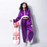 zebra leopar elbisesi kızları toptan satış-2019 Hip Hop Kostüm Hiphop Çocuklar Sokak Dans Giysileri Uzun kollu Ceket Yelek Pantolon Sahne Kıyafetleri Caz Giyim Kız Set Takım F356