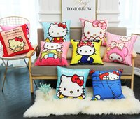 Wholesale cute girl beds resale online - Hello Kitty Pillow Case Cute Cartoon Kitty Pink Printed Cushion Cover Home Bed Sofa Girls Living Room Decration