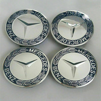 mütze metall abzeichen großhandel-Für Mercedes Blue Logo Abzeichen Nabenabdeckung Felgenmittelkappe 75mm 4 Teile / satz