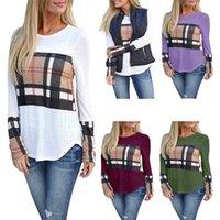 blusas de mujer de colores al por mayor-Mujeres Camisas casuales Mutil Plaid Rayas Costuras Color Camisetas de manga larga Blusas 6 Color Seleccione el tamaño (S-3XL) 6008 #