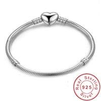 pulseira de 925 libras para homens venda por atacado-Moda Original 925 Sterling Silver Heart Shape Charm Bracelet Osso de cobra Pulseiras DIY Bead Jewelry for Women men Wedding