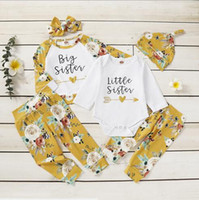 Wholesale sisters clothing set for sale - Group buy INS Baby Girl Clothing Piece Sets Flowers Letter Print Family Sister Clothing Sets Spring Fall Long Sleeve piece set clothing