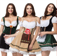 Wholesale red fancy dress sleeves resale online - 2019 Sexy Oktoberfest Beer Girl Costume Maid Wench Germany Bavarian Short Sleeve Fancy Dress Dirndl For Adult Women Cosplay