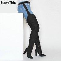 botas overknee muslo alto al por mayor-ZawsThia largo del estilo de alta del muslo botas Bloquear los tacones altos zapatos de la mujer atractiva sobre la rodilla de la cintura de la hebilla botines Overknee Botas