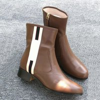 Wholesale chains direct resale online - Woman Leather shoes zip eather ankle boots and web band ankle boots factory direct female rough heel round head autumn winter Martin Boots