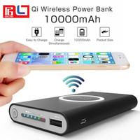 en iyi dış güç bankası toptan satış-Bestsin Qi Kablosuz Güç Bankası 10000 mAh Taşınabilir Kablosuz Şarj Pad Harici Pil 2 1 iPhone Için Çift Şarj Portu Ile X