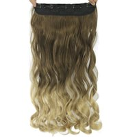 ingrosso clip di capelli biondi pezzo-Capelli delle donne Alta Tempreture sintetico Ombre capelli pezzo 5 Clip nelle estensioni dei capelli 60 centimetri lungo marrone ondulato alla bionda