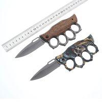 cuchillo de acero al por mayor-Hoja de acero inoxidable 219 Knuckle Duster cuchilla plegable 7CR17Movilla de aleación de aluminio mango mango táctico herramienta de camping blog al por menor