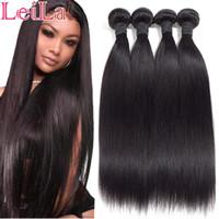 tecer a cor do cabelo 12 venda por atacado-Leila 10A Extensões de cabelo Reta Peruano Pacotes 100% Feixes de Cabelo Humano Não Remy Extensões Do Weave Do Cabelo Cor Natural Pode Comprar 1/4 pcs
