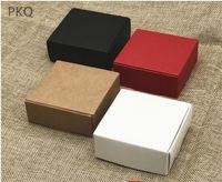 ingrosso sapone rosso bianco-5pcs 2 formati scatole di carta kraft nero, scatola regalo di carta bianca, scatola di imballaggio di sapone fatto a mano piccolo rosso, scatola di caramelle di nozze di cartone