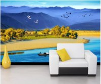 Wholesale mountain decor for sale - Group buy 3d wallpaper custom photo mural Chinese wind mountain river scenery TV background wall Home decor living room wallpaper for walls d