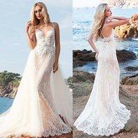 correias nupciais destacáveis venda por atacado-Fascinante cintas de espaguete decote do vestido de 2 em 1 casamento com destacável saia de renda apliques Nude Beach Dress Bridal